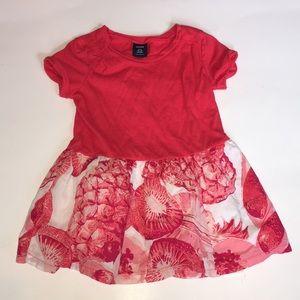 Baby Gap Red Pink Floral Tee Dress